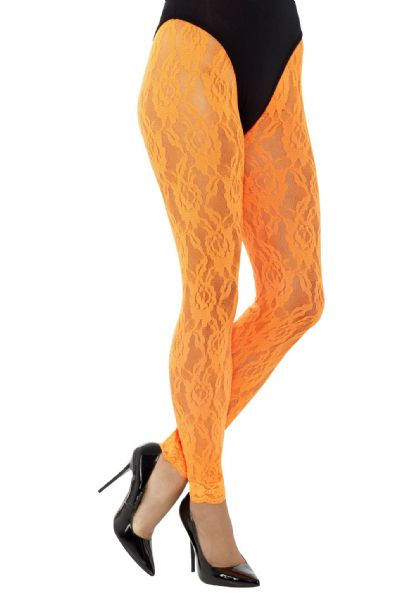 80s Lace Neon  Leggings - Orange
